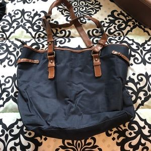 Merona navy and brown tote bag